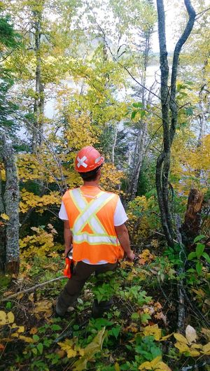 Taking a break to look at the views Boyfriend❤ Beautiful Nature Leaves Nature Hike Construction Safety Vest.