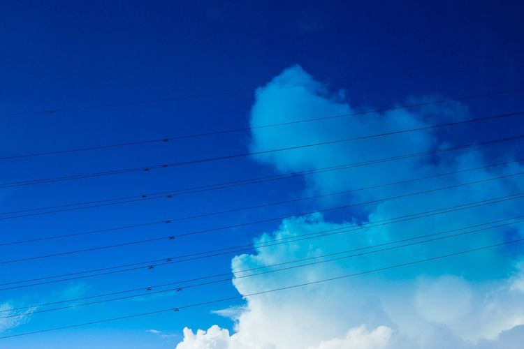 Cable Sky Power Line  Blue Electricity  Power Supply Cloud - Sky Connection Low Angle View Fuel And Power Generation Technology No People Electricity Pylon Vapor Trail Nature Outdoors Telephone Line Beauty In Nature Day Scenics
