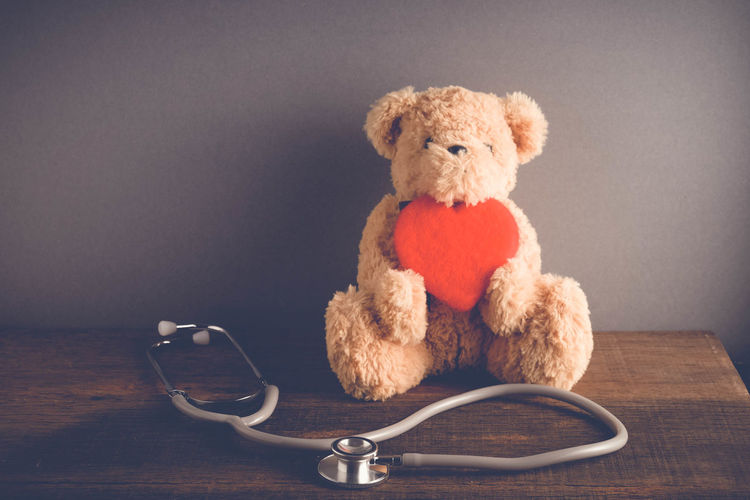 Animal Representation Art And Craft Childhood Close-up Cute Healthcare And Medicine Indoors  Medical Equipment Medical Instrument Medical Supplies Representation Single Object Softness Stethoscope  Still Life Stuffed Toy Table Teddy Bear Toy