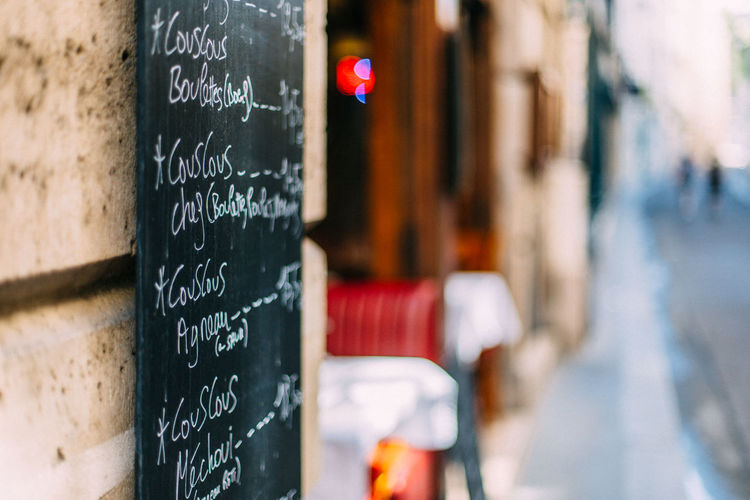 Handwritten menu at a restaurant in paris, france