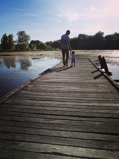 Nature Dad Daddy Children Baby Babyboy Love People People In Nature Water Full Length Men Lake Walking