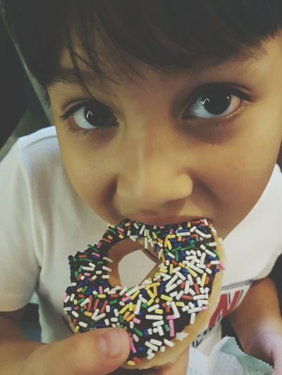 Kid eating donut Kid Young Boy Looking At Camera Portrait Child One Person Headshot Close-up People Donut Eating Yummy Colorful Sweet Krispy Kreme Holiday Vacations Family Big Eyes Kid Eating Donut Sugary Cute Kid