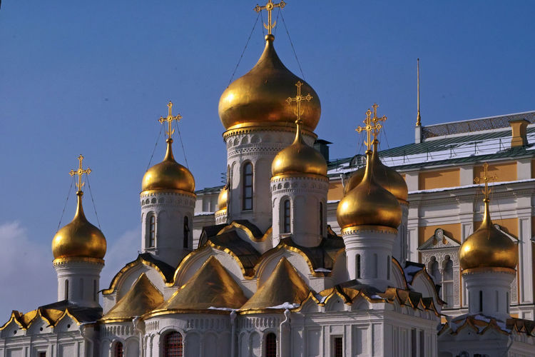 Kremlin Cathedrals Architecture Baroque Style Building Exterior Built Structure City Cultures Day Dome Golden Dome Golden Towers History Moscow In March No People Outdoors Place Of Worship Religion Russian Orthodox Church Sky Spirituality Travel Destinations
