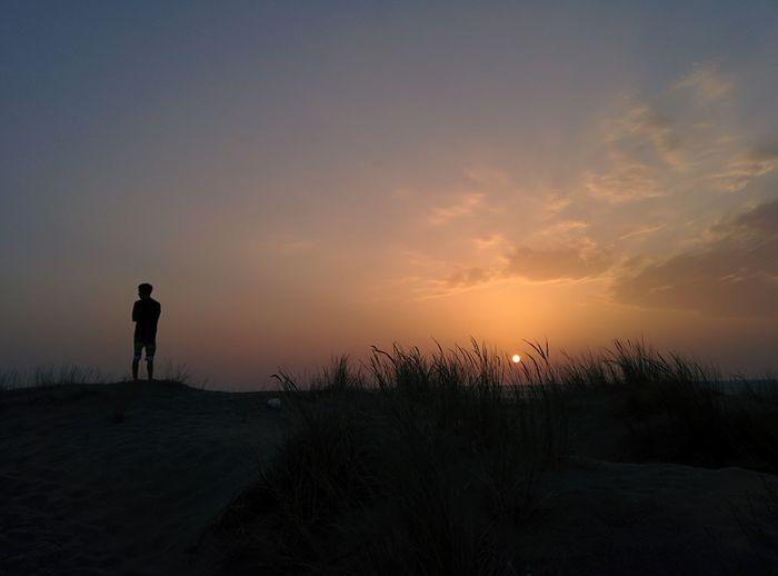 Beauty In Nature Falasarna Beach Grass Horizon Over Water Kreta One Person Outdoors Sand Sea Silhouette Standing Sunset Tranquil Scene