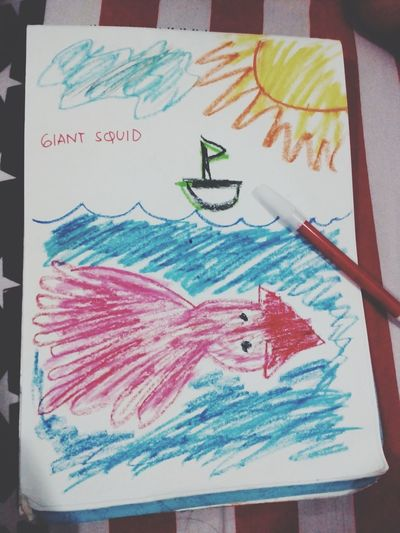 Giant Squid Drawing Child See