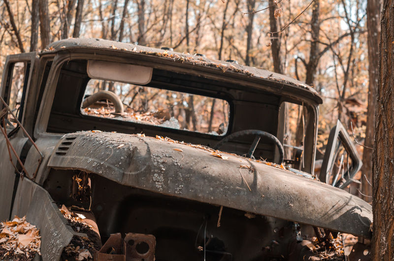 Abandoned car on land