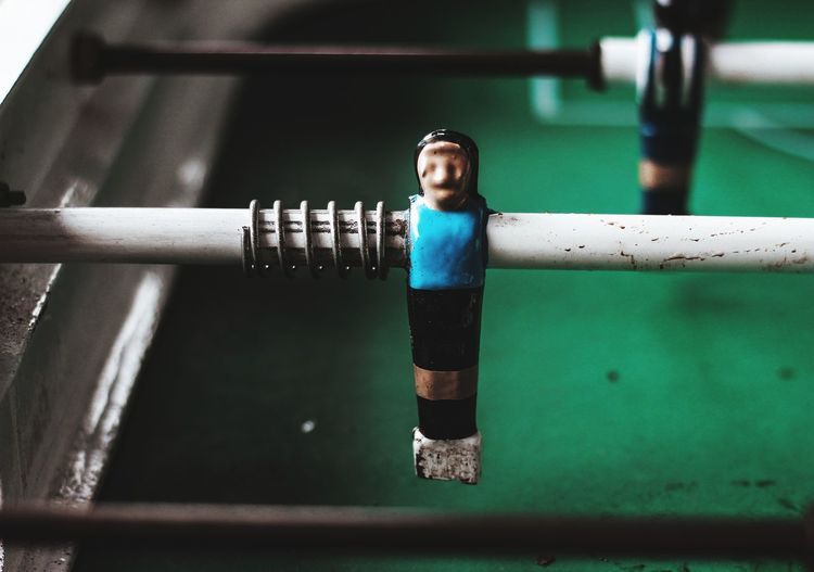 Close-up of foosball figurine