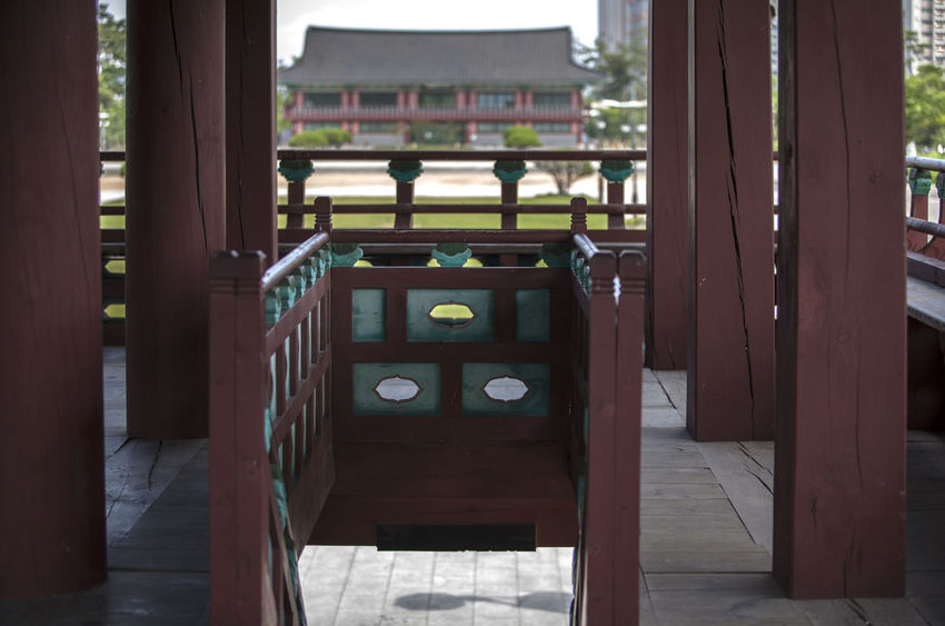 Absence Architectural Column Architecture Built Structure Closed Column Day Empty Entrance Frame In Frame Furniture Korean Traditional Architecture Michuhol Park No People Open Pillar Songdo, Incheon Wood - Material Wooden