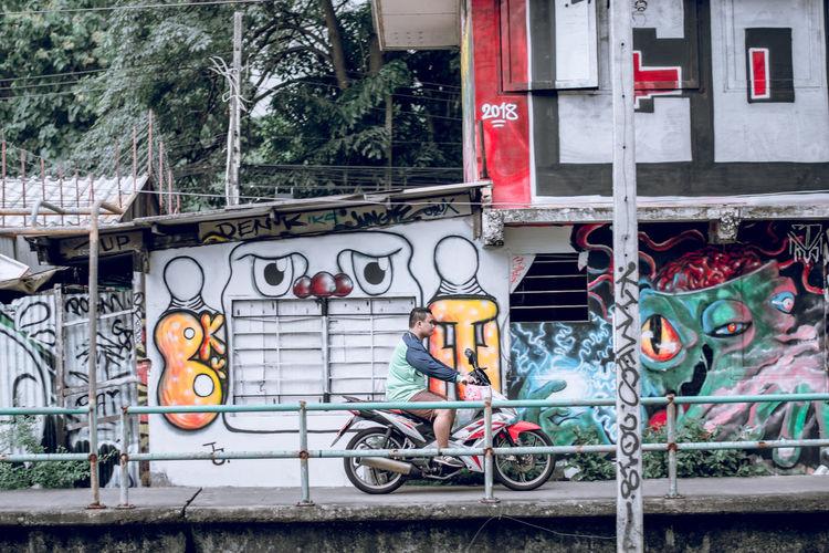 Bicycle City Communication Day Graffiti Outdoors Street Tree