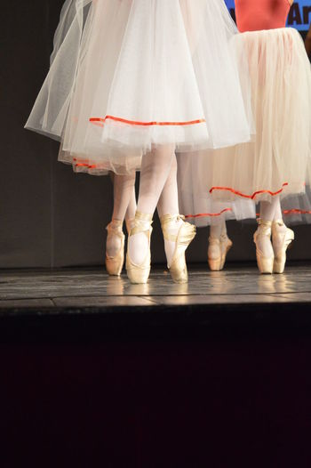 Low section of ballet dancers dancing on stage