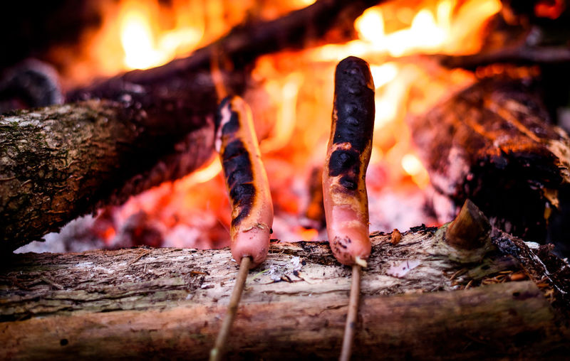 Close-Up Of Sausages Cooking On Campfire
