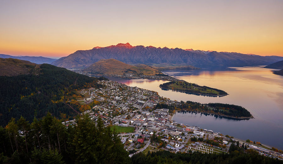 Aerial View Of Queenstown By Lake During Sunset