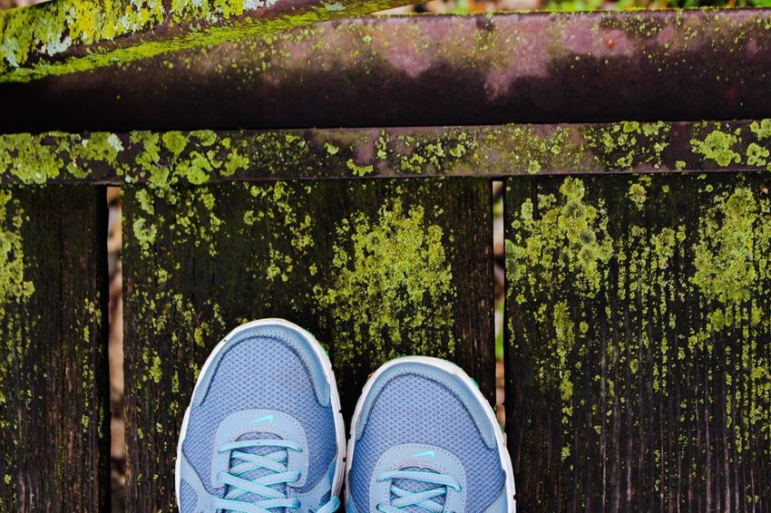 Low Section Shoe Human Leg Personal Perspective Standing Real People Lifestyles Pair Outdoors One Person Canvas Shoe Day Human Body Part Nature Adults Only People Adult Mossy Moss Mossy Bridge