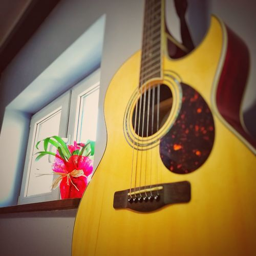 EyeEmNewHere Flower Selective Focus No People Musical Instrument Yellow Home Interior Day Guitar Close-up Fragility The Week On EyeEm Mix Yourself A Good Time The Still Life Photographer - 2018 EyeEm Awards