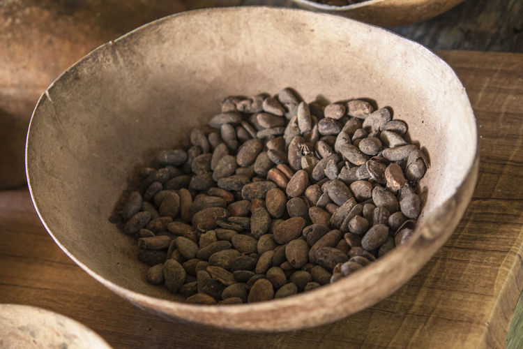 High angle view of coffee beans in bowl on table