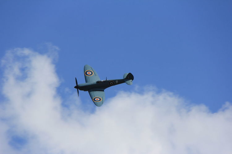 Aerospace Industry Air Vehicle Airplane Cloud - Sky Day Flying Hurricane Low Angle View No People Outdoors Raf Royal Air Force Sky Spitfire