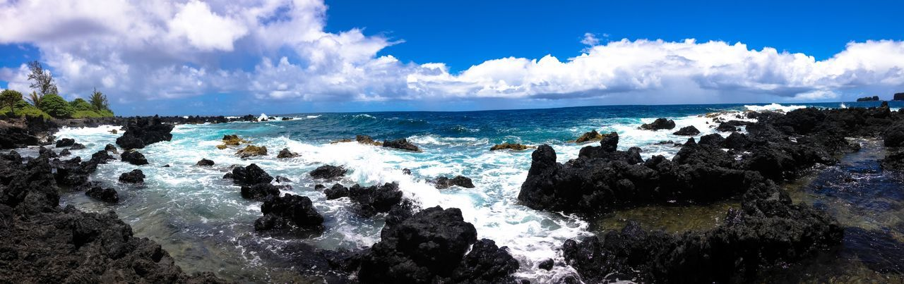 Blue Calm Cloud Cloud - Sky Day Geology Hana Hawaii Horizon Over Water Idyllic Maui Nature Non-urban Scene Panoramic Remote Rock - Object Rock Formation Rocky Scenics Sea Seascape Shore Sky Tranquility Water