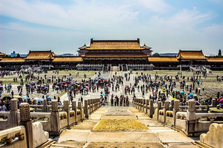 People At Historic Forbidden City Against Sky