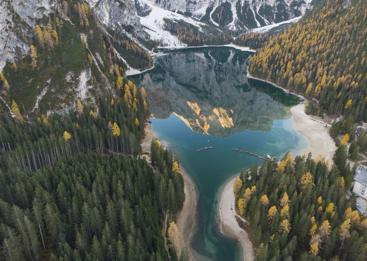 Perfect mirroring in autumn colors at Lake Braies, Dolomites Scenics - Nature Beauty In Nature Mountain Tree Plant Water Environment Non-urban Scene Tranquil Scene Nature No People Tranquility High Angle View Aerial View Landscape Day Land Mountain Range Outdoors Power In Nature Formation Dolomites, Italy Autumn