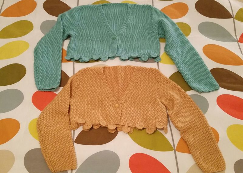 Knitting Cardigans Bolero Shrugs Wool Mint Mustard Myhobby Orla Kiely Mossstitch Golden Craft