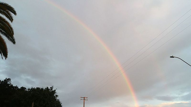 Rainbow Double Rainbow Flying Multi Colored No People Cloud - Sky Low Angle View Nature Sky Outdoors