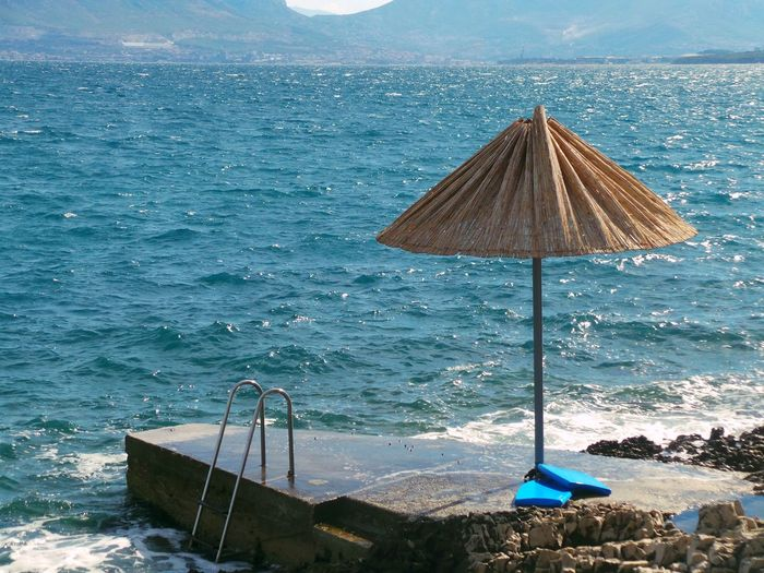 Beach Beauty In Nature Blue Coastline Croatia Day Nature Non-urban Scene Outdoors Scenics Sea Seascape Sky Split Summer Sun Umbrella Sunshade Tourism Tourist Tranquility Travel Destinations Vacations Water Wave čiovo