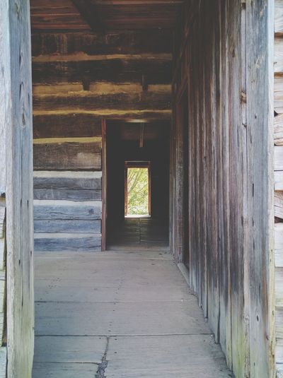 Cades Cove Gatlinburg Tennessee Great Smoky Mountains National Park Indoors  Architecture Built Structure The Way Forward Empty Old Flooring Abandoned Wall Narrow Door Corridor Window Weathered Bad Condition Damaged Entrance Long Day No People
