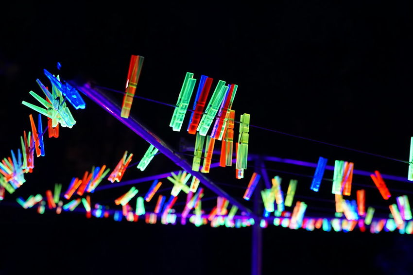 Bruce Munro Neon Black Background Multi Colored Illuminated Arts Culture And Entertainment Sky