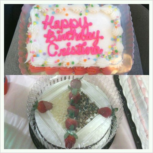 My 2 Birthday Cakes! One Vanilla And The Other Tres Leches ;)