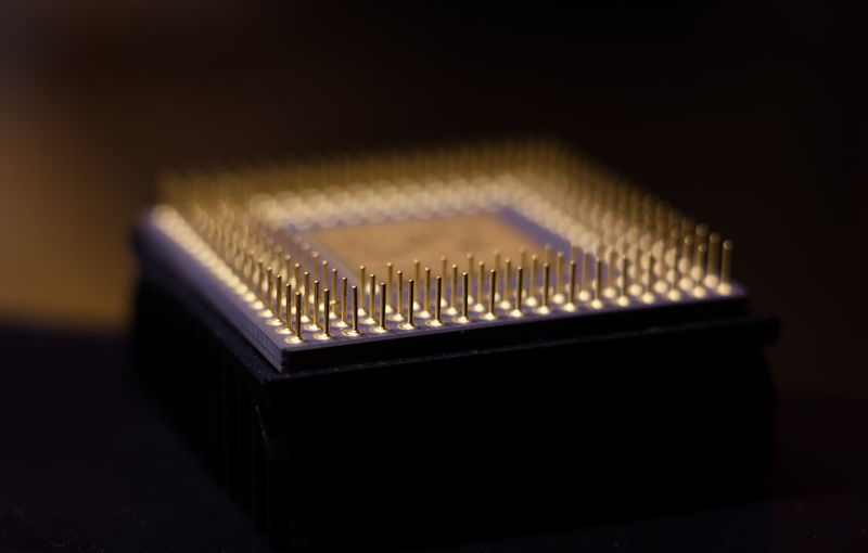 Close-Up Of Computer Chip On Table