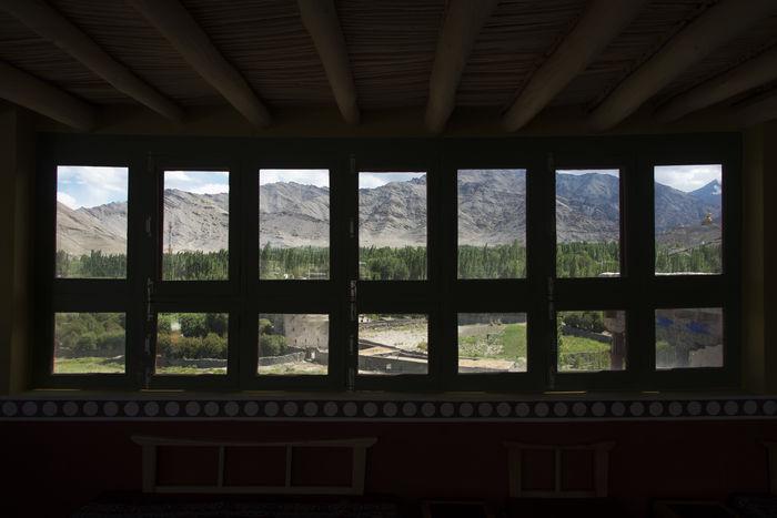 Mountains seen through windows