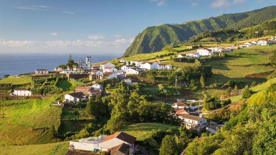 Scenic view of pedreira village in nordeste region on sao miguel island, azores, portugal.