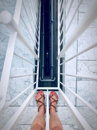 Looking into abyss Human Leg Low Section Human Body Part Body Part Personal Perspective Real People One Person Standing Shoe Lifestyles Women Human Foot Architecture Indoors  Adult Day Staircase Limb Human Limb Steps And Staircases