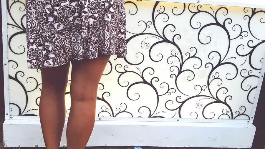 Pattern against pattern One Person One Woman Only Legs Brown Colour Full Frame Pattern Low Section Glass - Material Adult Dress White Colour Filigree Background Pattern Design Patterned Dress Patterned Glass