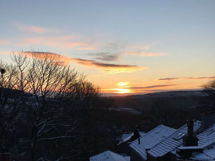 Cold frosty morning morning in Heptonstall Sunset Sky Nature Beauty In Nature Roof Winter House Building Exterior Scenics Tranquility Cold Temperature Snow Architecture Outdoors No People Cloud - Sky Built Structure Tranquil Scene Bare Tree Tree