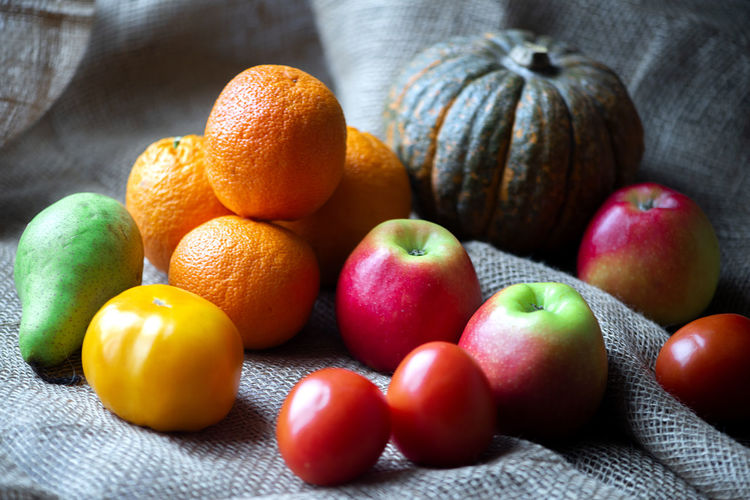 Still life with colorful vegetables and fruits