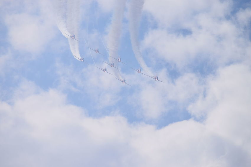Southport Airshow 2016 Red Arrows Air Display Airshow Air Display  Smoke Trails Blue Sky Cloudy Red Arrows Jetplanes Formation Landing Lights