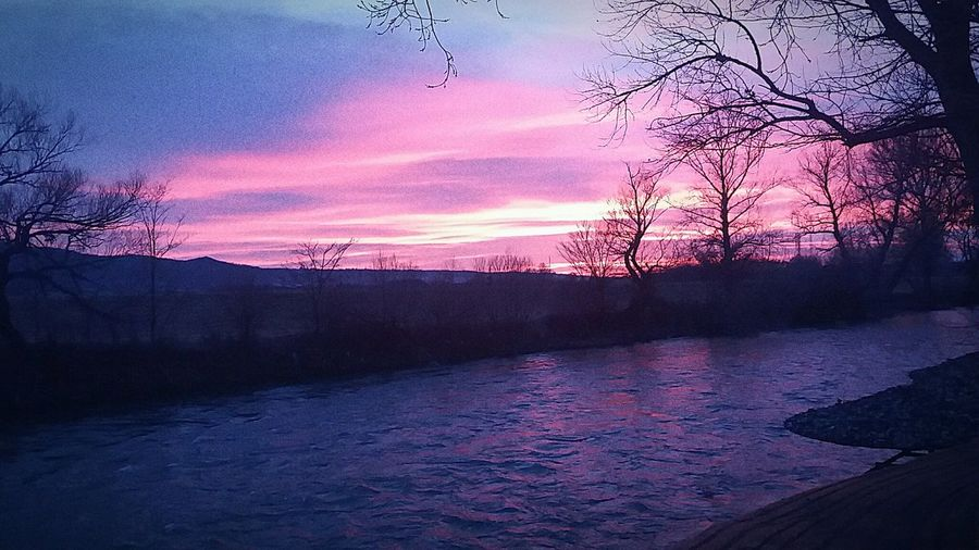 Pinky clouds Sky River View I Love My City Sunset Serbia,nis