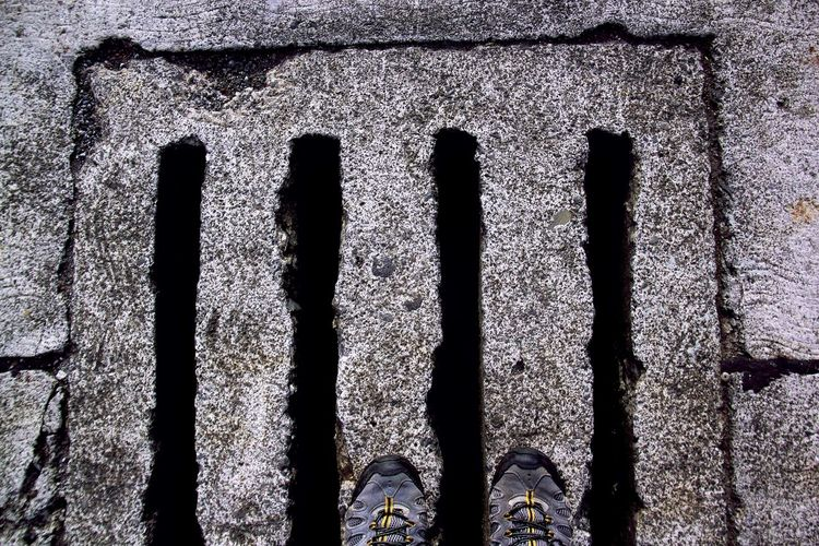 Architecture Beautifully Organized Built Structure Close-up Day Drainage Four In A Row Grey Day No People Outdoors Shoelaces Shoeselfie Textured  Enjoy The New Normal The City Light Minimalist Architecture