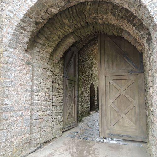 Castle Castle Door Wooden Door Wood Entry Entryway Stonewall Castlewall Open Door Door Handle Historic Historic Doorway Entry Entryway Entryway