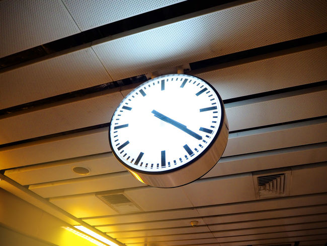 Modern clock at the Metropolitan Rapid Transit station in Thailand. Accuracy Architecture Built Structure Ceiling Circle Clock Clock Face Geometric Shape Illuminated Indoors  Instrument Of Time Low Angle View Minute Hand No People Number Roman Shape Station Time Wall - Building Feature Wall Clock
