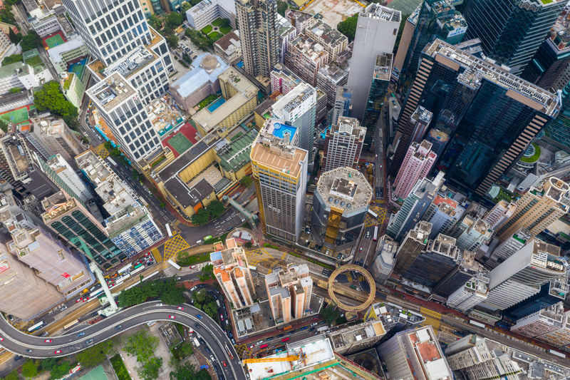 Hong Kong Hong Kong Top View Downtown City Building Skyscraper Travel Architecture Urban Business Landscape Cityscape Landmark Metropolis Aerial Fly Drone  Over Above Down Top Down Bird Eye Hk Hong Kong Causeway Bay Office Town Financial Skyline Sky Tower