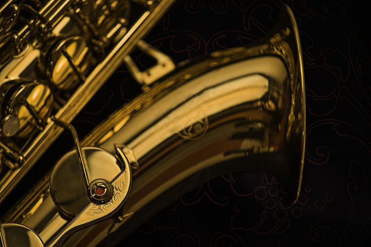 Black Background Music Close Up Gold Colord Indoor Jazz Music Musical Instrument Saxophone