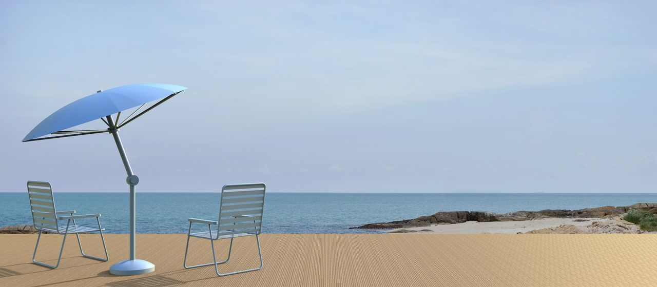 Beach living and chair modern on Sea view in Holiday Sea Water Horizon Beach Horizon Over Water Scenics - Nature Sky Nature Day Sand Umbrella No People Absence Outdoors Tranquil Scene Chair Beauty In Nature Land Sundeck Sunny, Shade, Tree, Tourism, Travel Pool Ball Relaxing Resort