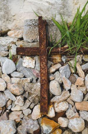 Beach Beach Debris Crucifix Debris Grass Metal Cross Pebble Rust Rusted Rusted Metal  Seascape Vegitation