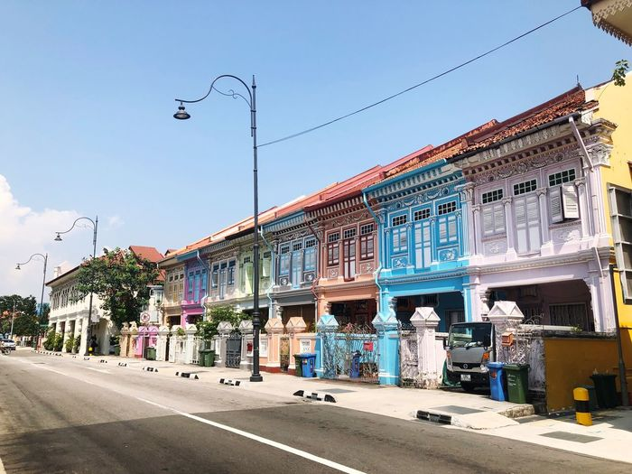 Colorful Peranakan Houses in Singapore Singapore Katong Colorful Houses Peranakan Houses Peranakan Heritage Sky Nature Building Road Day First Eyeem Photo EyeEmNewHere