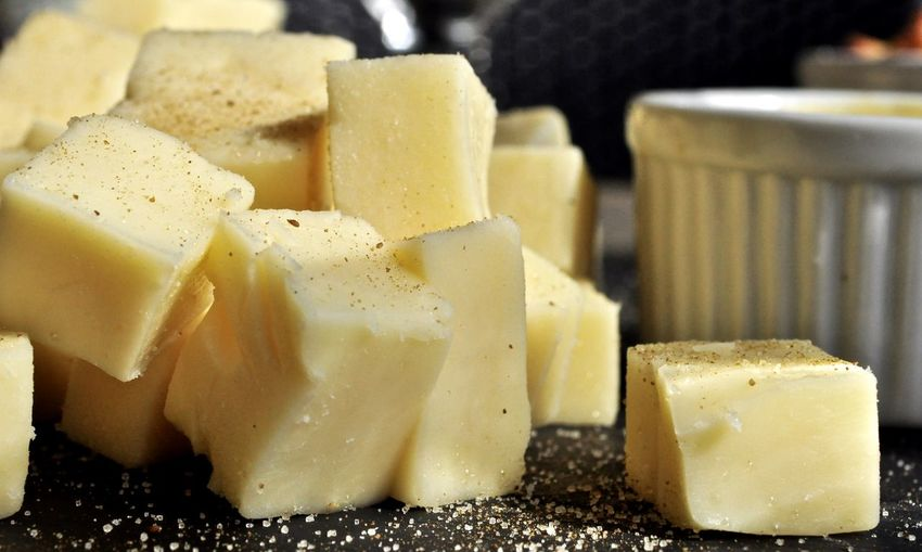 Close-up of cheese cubes