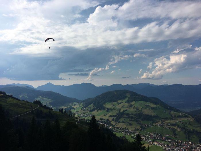 Paragleiten vom Markbachjoch Tyrol Austria Tirol  Paragliding Wildschönau Markbachjoch Niederau Mountain Cloud - Sky Sky Beauty In Nature Scenics - Nature Extreme Sports Adventure Tranquility