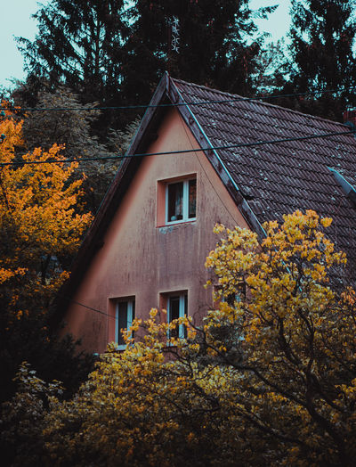 House and trees against sky during autumn