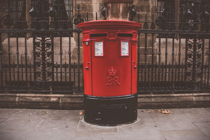 Red Built Structure Architecture Security Protection Sidewalk Metal Public Mailbox Communication Footpath Correspondence Mailbox Post London Post Box Old System Eyeem Travel